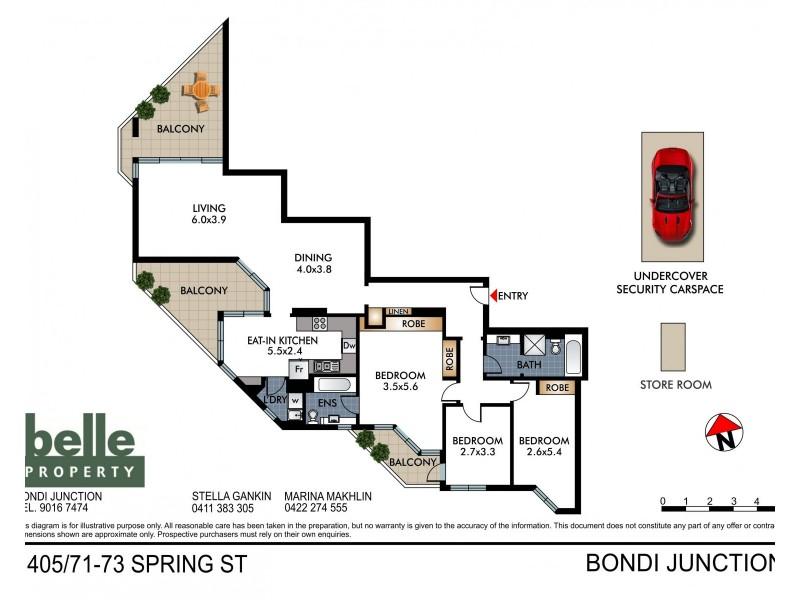 1405/71-73 Spring Street, Bondi Junction NSW 2022 Floorplan
