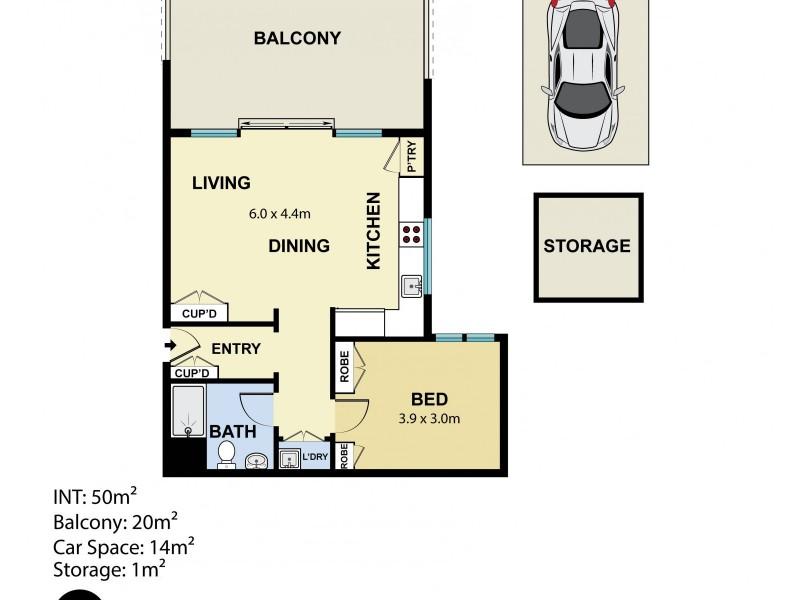 1406/253-255 Oxford Street, Bondi Junction NSW 2022 Floorplan