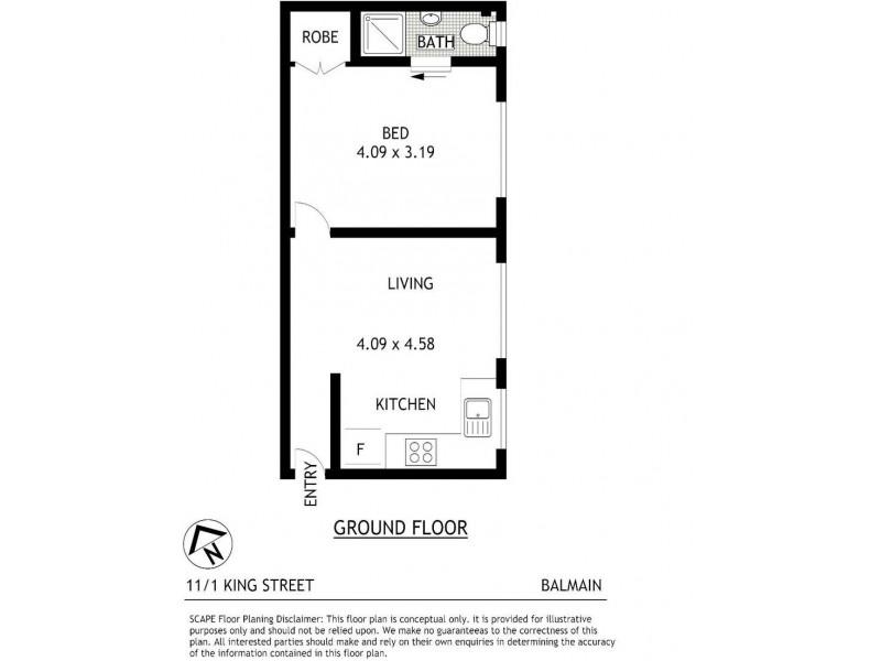 11/1 King Street, Balmain NSW 2041 Floorplan