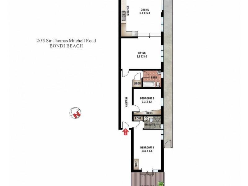 2/55 Sir Thomas Mitchell Road, Bondi Beach NSW 2026 Floorplan