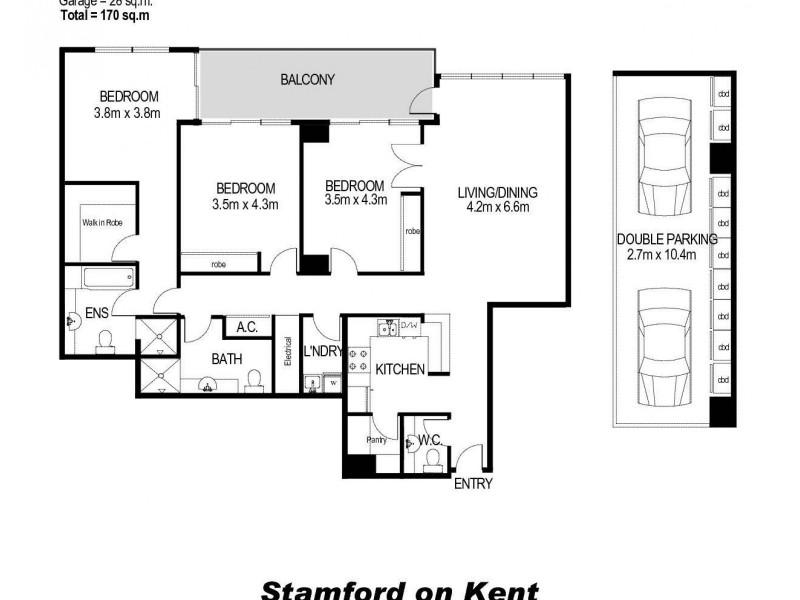1305/183 Kent Street, Sydney NSW 2000 Floorplan