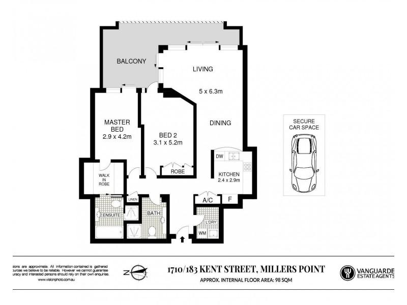 1710/183 Kent Street, Sydney NSW 2000 Floorplan