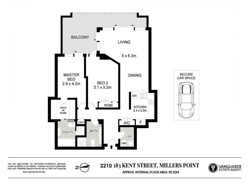 2110/183 Kent Street, Sydney NSW 2000 Floorplan