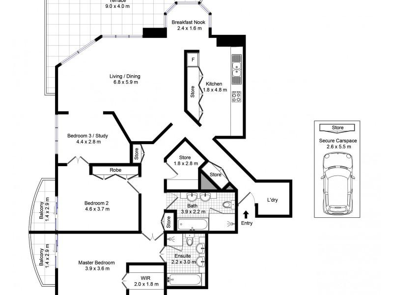 603/127 Kent Street, Sydney NSW 2000 Floorplan