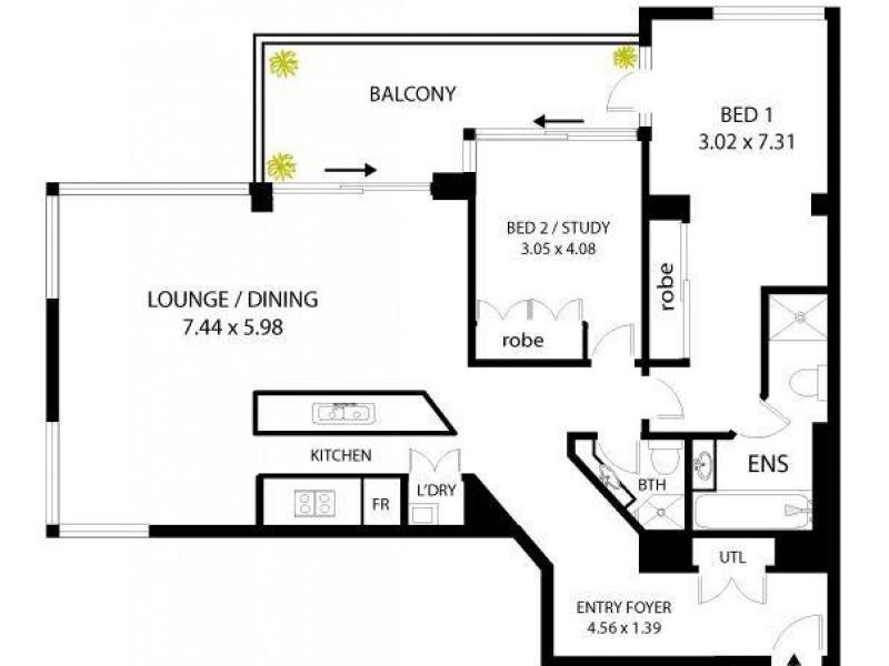 1106/183 Kent Street, Sydney NSW 2000 Floorplan