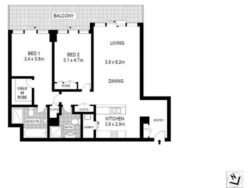 2603/183 Kent Street, Sydney NSW 2000 Floorplan