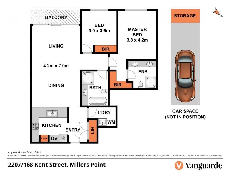 2207/168 Kent Street, Sydney NSW 2000 Floorplan