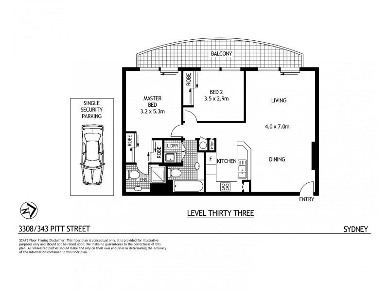 3308/343 Pitt Street, Sydney NSW 2000 Floorplan