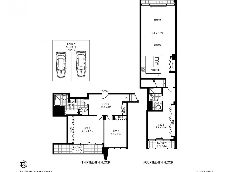 1311/20 Pelican Street, Surry Hills NSW 2010 Floorplan