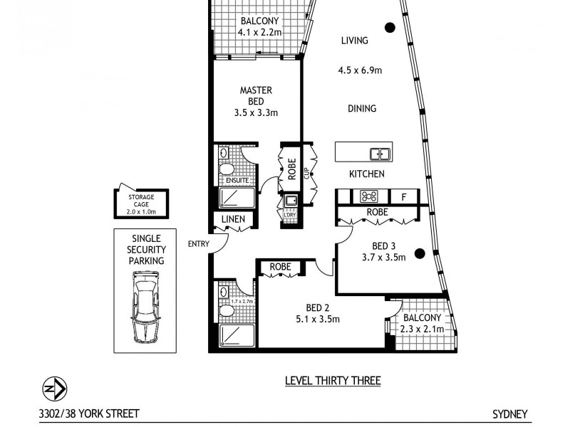 3302/38 York Street, Sydney NSW 2000 Floorplan