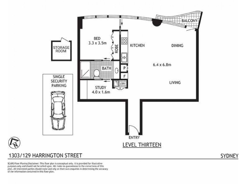 1303/129 Harrington Street, Sydney NSW 2000 Floorplan