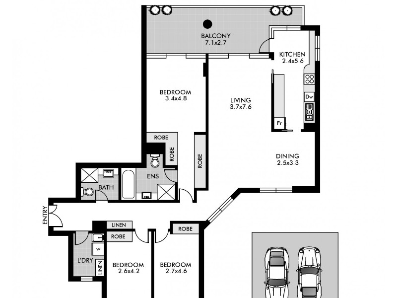 1504/79 Grafton Street, Bondi Junction NSW 2022 Floorplan