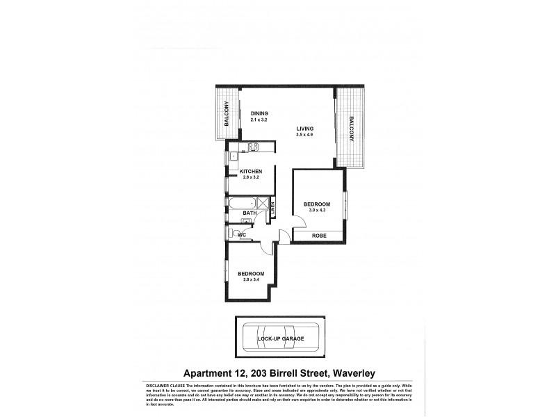 12/203 Birrell Street, Bronte NSW 2024 Floorplan