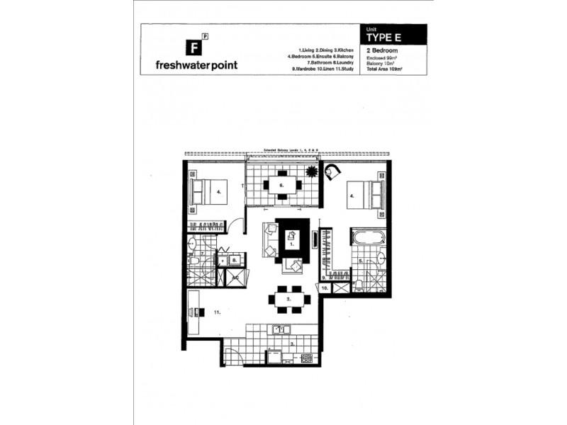 2904 'Freshwater Point' 33 T E Peters Drive, Broadbeach Waters QLD 4218 Floorplan