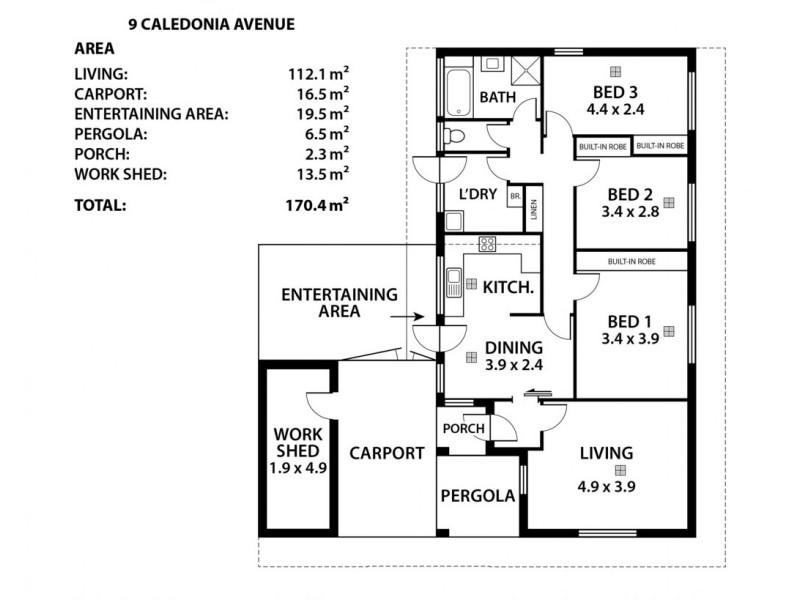 9 Caledonia Avenue, Woodside SA 5244 Floorplan