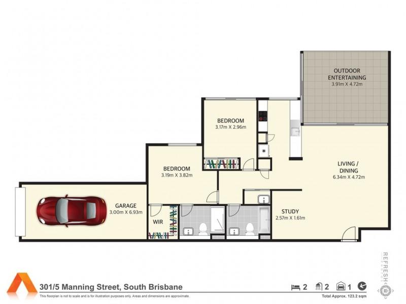 38/46 Boundary St, South Brisbane QLD 4101 Floorplan