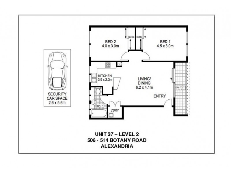 37/506-514 Botany Road, Beaconsfield NSW 2015 Floorplan