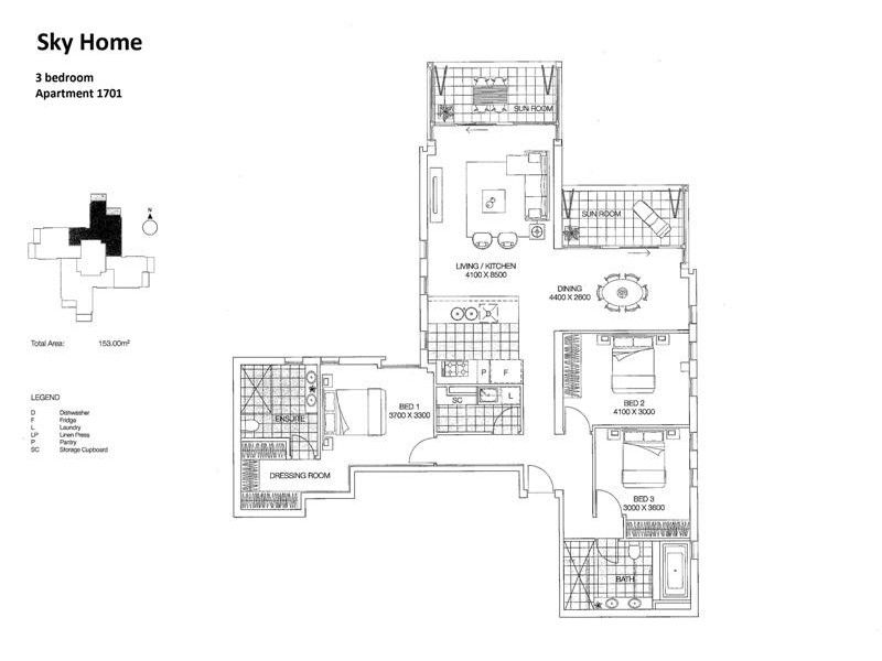 Apartment 1701 Franklin and Morphett St, Adelaide SA 5000 Floorplan