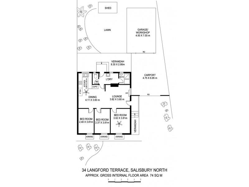 34 Langford Terrace, Salisbury North SA 5108 Floorplan