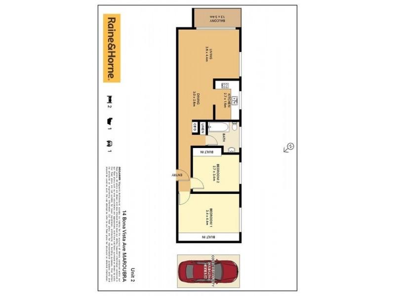 2/14 Bona Vista, Avenue, Maroubra NSW 2035 Floorplan