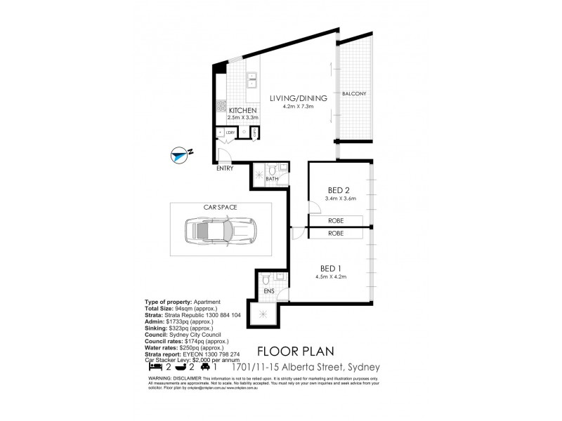 1701/11-15 Alberta Street, Sydney NSW 2000 Floorplan