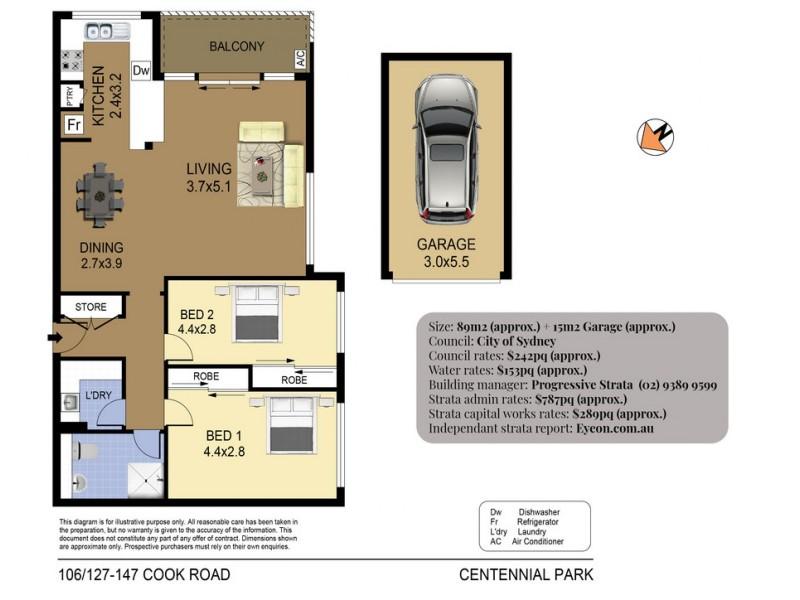 106/127-147 Cook Road, Centennial Park NSW 2021 Floorplan