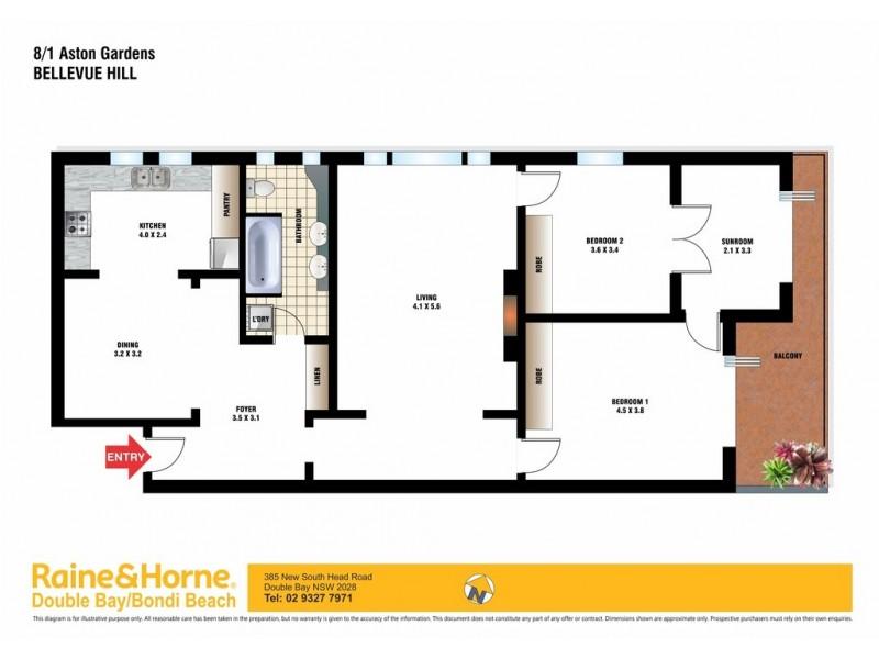 8/1 Aston Gardens, Bellevue Hill NSW 2023 Floorplan