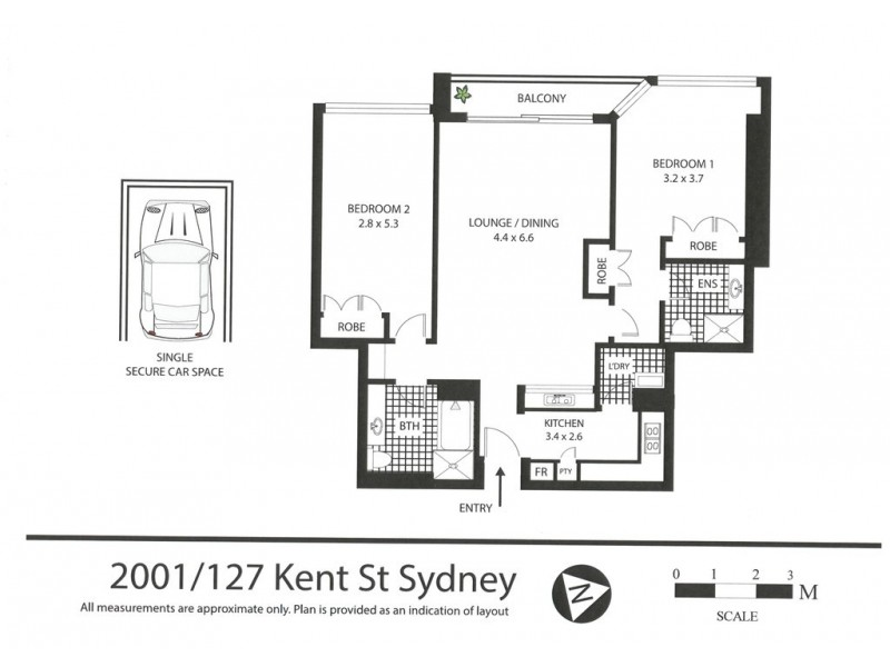 2001/127 Kent Street, Sydney NSW 2000 Floorplan