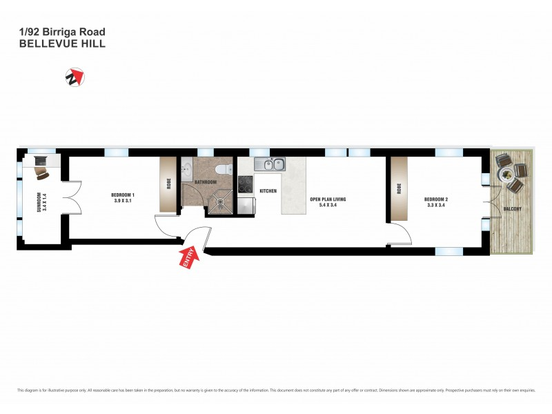 1/92 Birriga Road, Bellevue Hill NSW 2023 Floorplan