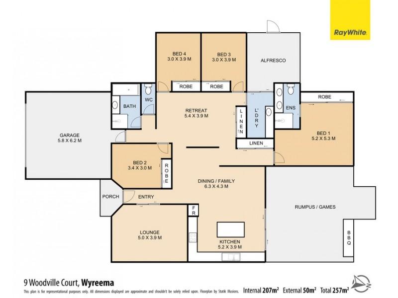 9 Woodville Court, Wyreema QLD 4352 Floorplan