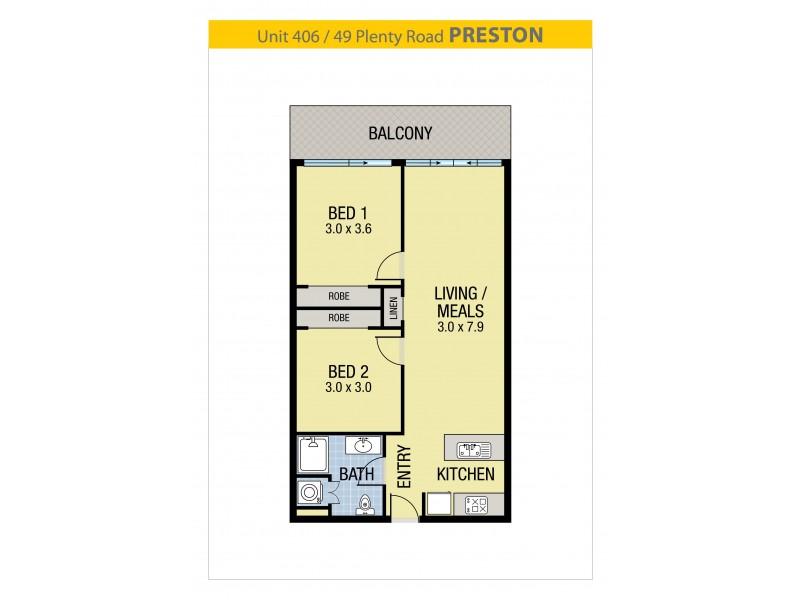 406/49 Plenty Road, Preston VIC 3072 Floorplan