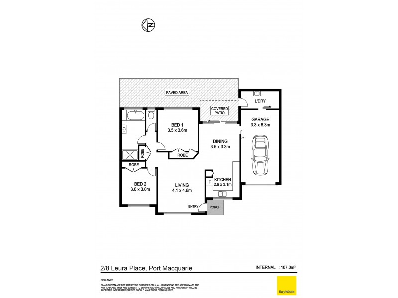 2/8 Leura Place, Port Macquarie NSW 2444 Floorplan