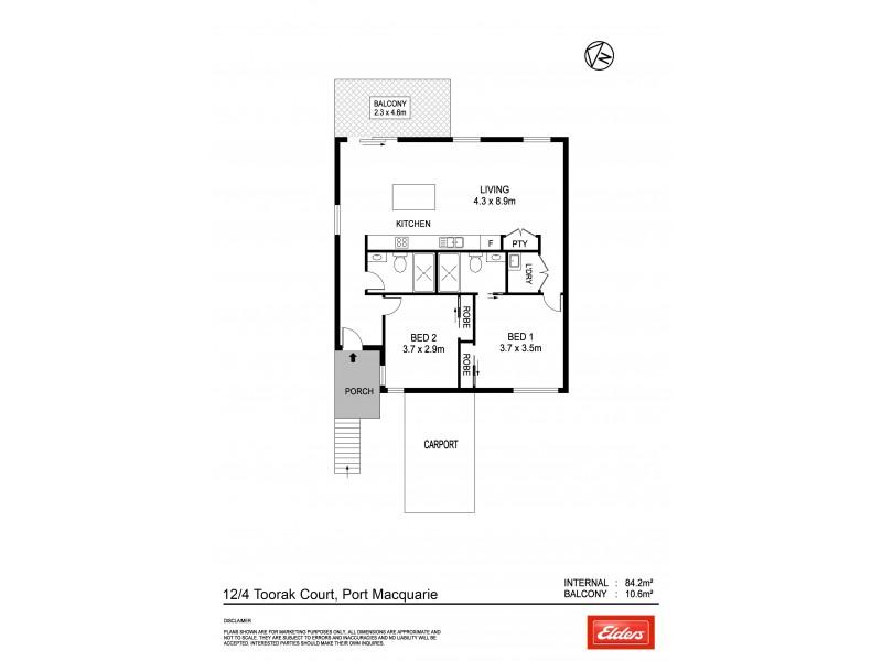 12/4 Toorak Court, Port Macquarie NSW 2444 Floorplan