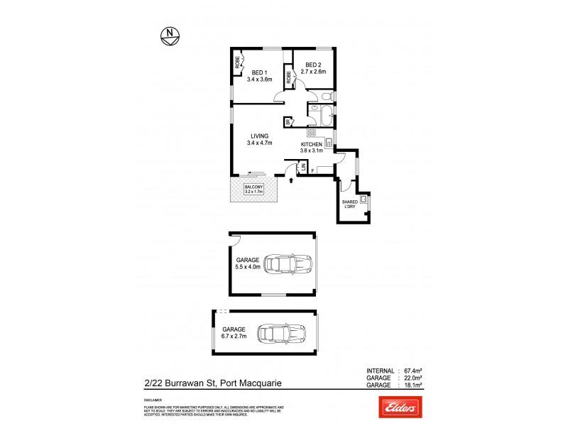 2/22 Burrawan Street, Port Macquarie NSW 2444 Floorplan