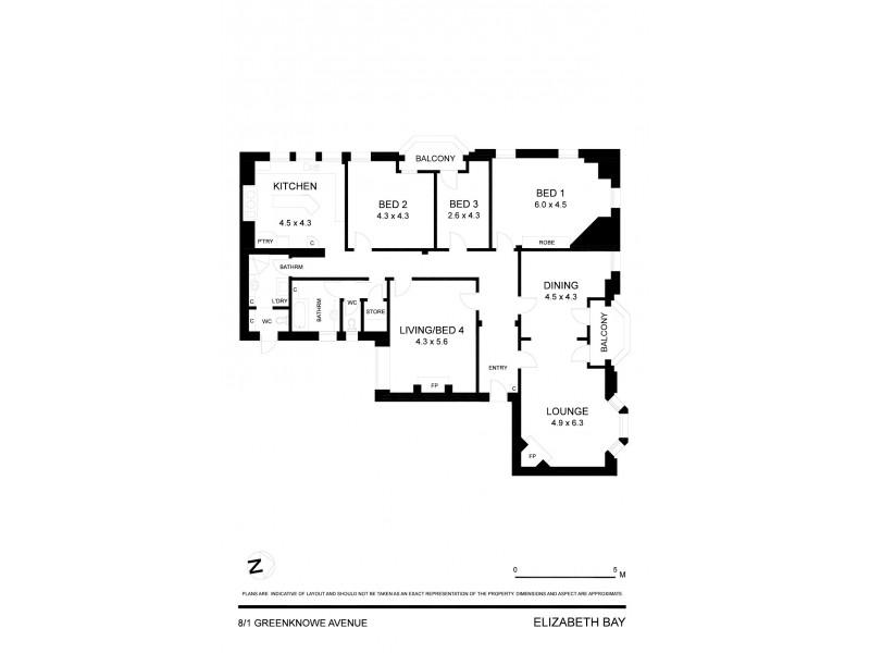 8/1 Greenknowe Avenue, Elizabeth Bay NSW 2011 Floorplan