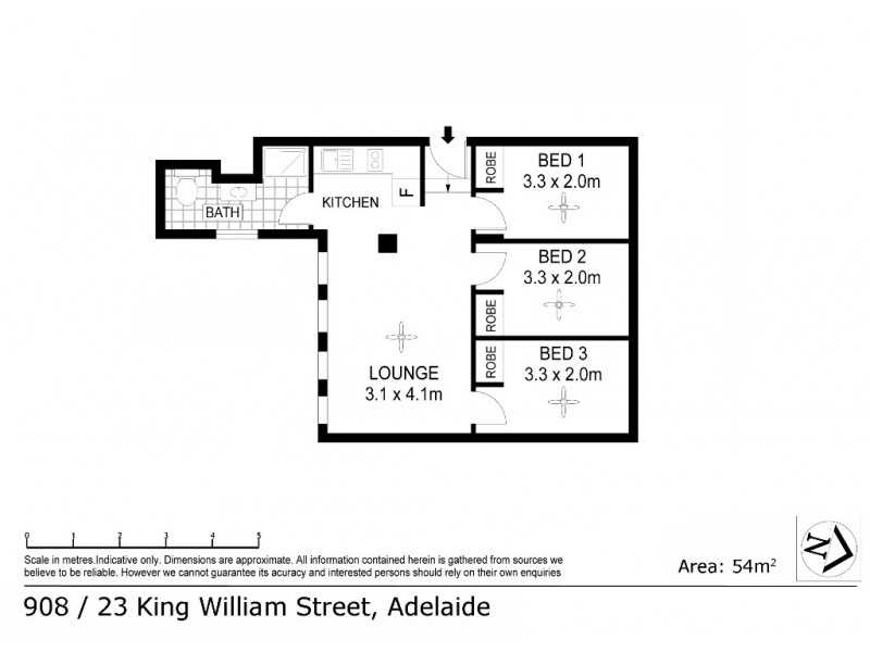 908/23 King William Street, Adelaide SA 5000 Floorplan