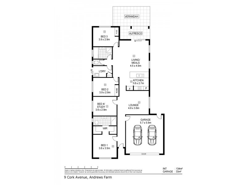 9 Cork Avenue, Andrews Farm SA 5114 Floorplan