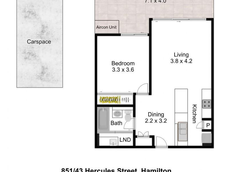 851/43 Hercules Street, Hamilton QLD 4007 Floorplan