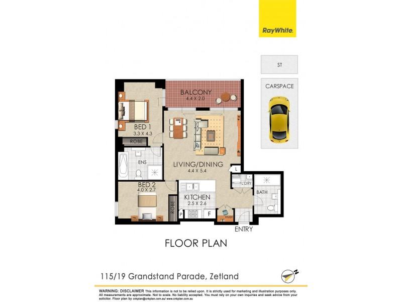 115/19 Grandstand Parade, Zetland NSW 2017 Floorplan