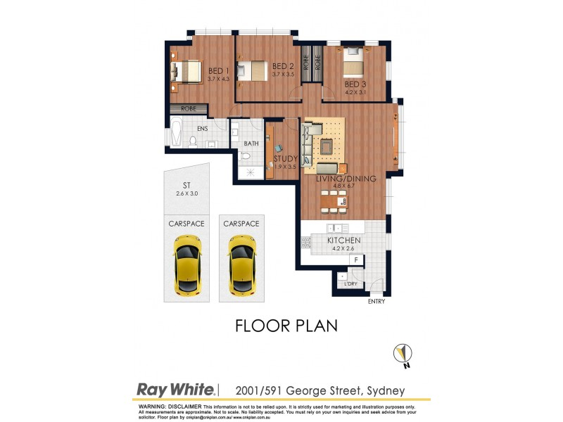 2001/591 George Street, Sydney NSW 2000 Floorplan