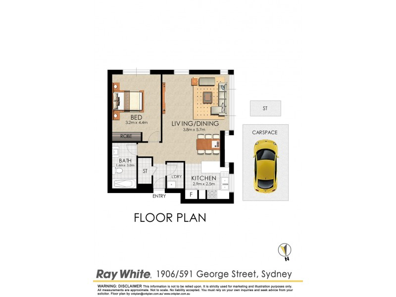 1906/591 George Street, Sydney NSW 2000 Floorplan