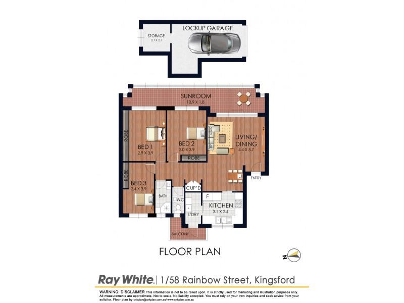 1/58-60 Rainbow Street, Kingsford NSW 2032 Floorplan