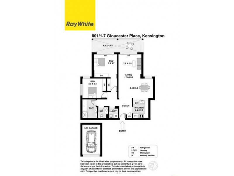 801/1-7 Gloucester Place, Kensington NSW 2033 Floorplan