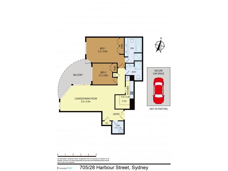 705 / 28 Harbour Street, Sydney NSW 2000 Floorplan