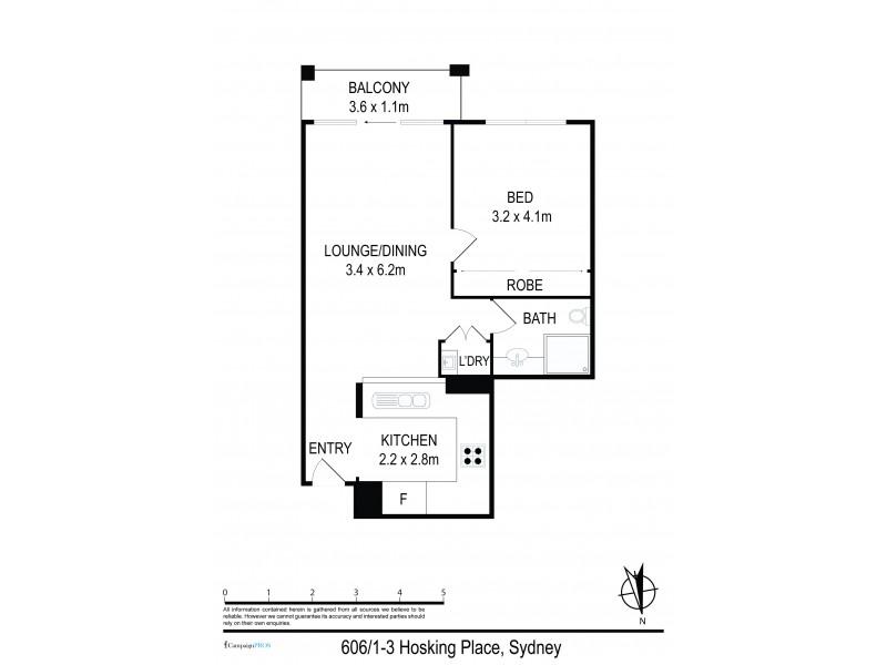 606 / 1 – 3 Hosking Place, Sydney NSW 2000 Floorplan