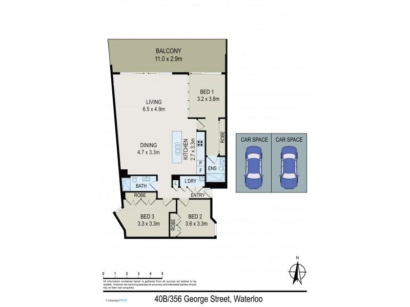 40B/356 George Street, Waterloo NSW 2017 Floorplan
