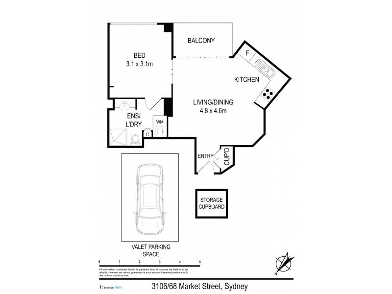 3106 / 68 Market Street, Sydney NSW 2000 Floorplan