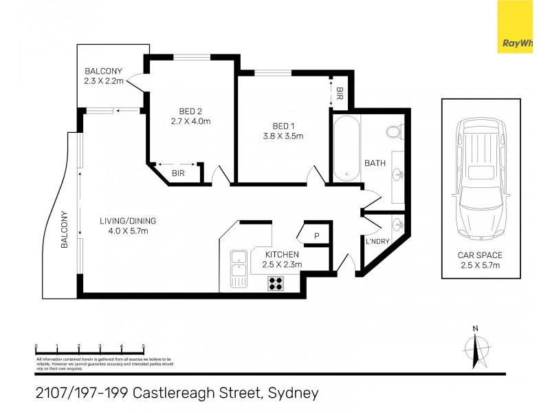 2107 / 199 Castlereagh Street, Sydney NSW 2000 Floorplan