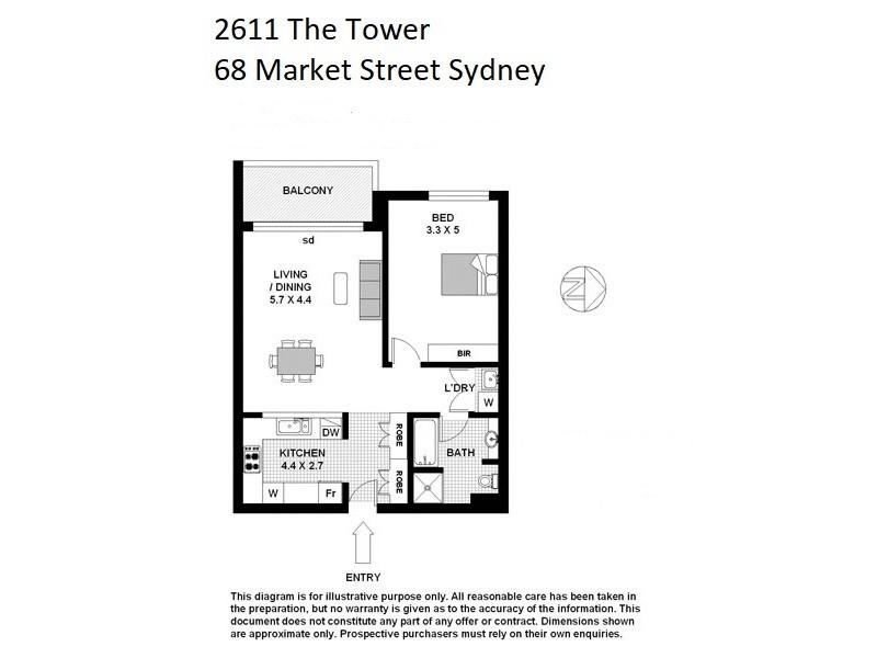 2611 / 68 Market Street, Sydney NSW 2000 Floorplan
