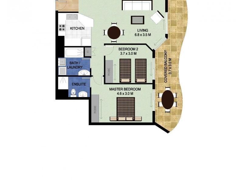 1506/88 Marine Pde, Coolangatta QLD 4225 Floorplan
